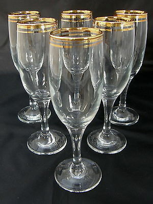 VINTAGE/RETRO set of six glasses - champagne flutes with gilded rims