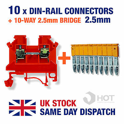 10 x Din Rail Threaded Connectors 2.5mm + 10-Way Connector Bridge