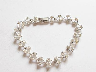 Vintage Art Deco Style Silver Tone Clear Glass Crystal Panel Bracelet