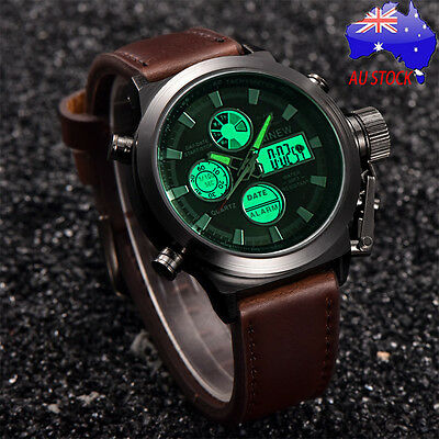 AU Men's Luxury LED Stainless Steel Band Quartz Watches Army Analog Wrist Watch