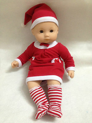 """15"""" American girl Bitty Baby Doll Clothes santa/Christmas dress socks outfit 4pc"""