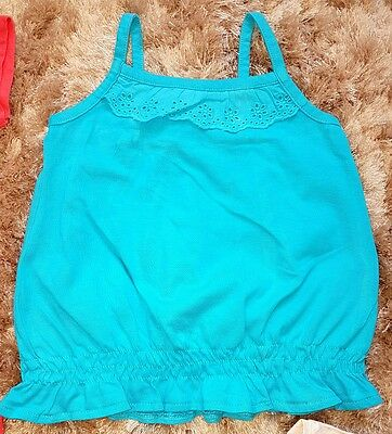 Baby Girls Blue Summer T-shirt Strappy Vest Cami Top 18-24 Months