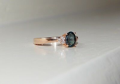 .14ct 14k SOLID Rose Gold Natural UNHEATED Teal Blue Sapphire & Diamond Ring NEW