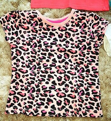 Baby Girls Black Pink Animal Leopard Print Summer T-shirt Vest Top 18-24 Months