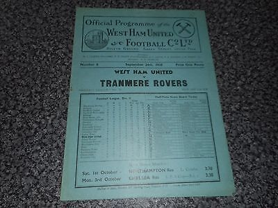 ***WEST HAM UNITED  v  TRANMERE ROVERS   1938/9***  SEP 24  VINTAGE  *FREE POST*