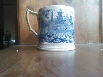 Antique Martin, Shaw & Cope ? Large Blue And White Transferware Mug C1820