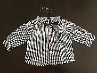 PETER MORRISSEY baby check shirt & bow tie. Size 000. RRP $22.00. NEW with tags