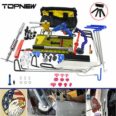 Car PDR Paintless Dent Repair Rods Tools Dent Lifter Line Board Hail Removal Kit