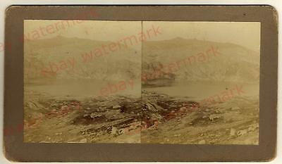 Antique Australian STEREO PHOTOGRAPH-'Blue Lake' Snowy Mountains- Rare c1900's