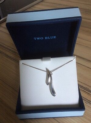 925 Silver Pendant and Chain.  Previously Owned.  Two Blue. In Box