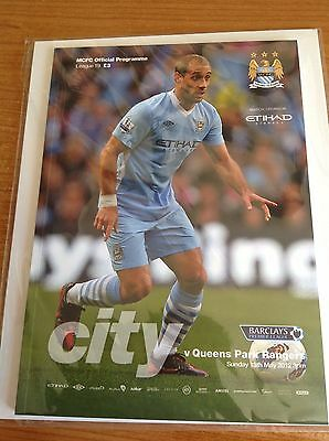 Manchester City v QPR, 13/5/12 Programme - 11/12  Premiership winning Game -Rare