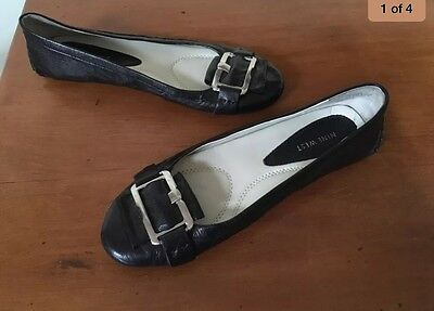 NINE WEST black leather flats Flat Shoes Sz 7.5 - (38)Hardly Worn Work Or Casual