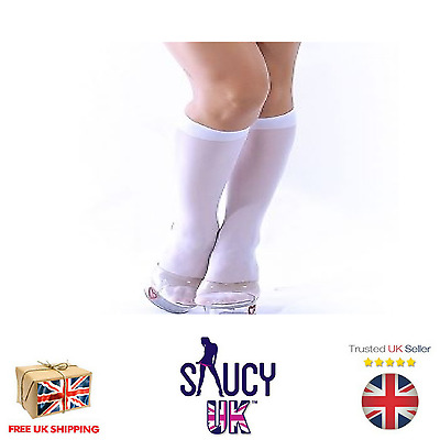 Sheer Knee High Stockings In White. One Size - UK SELLER