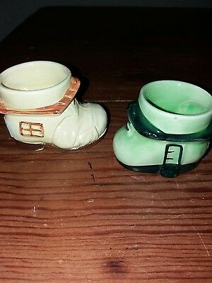 Two boot egg cups. Cute.. vintage. No. 27.