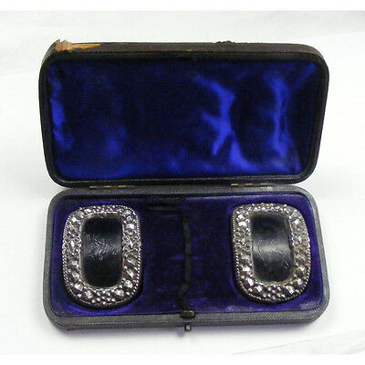 Pair Georgian Cut Steel Buckles Boxed