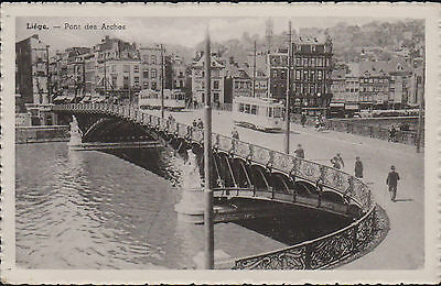 VINTAGE PC. LIEGE, THE BRIDGE OF ARCHES. 1928 - 1940. circa 1930s UNPOSTED.