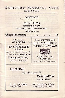 DARTFORD v POOLE TOWN 1961/62 SOUTHERN LEAGUE