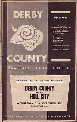 DERBY v HULL CITY 1965/66 LEAGUE CUP