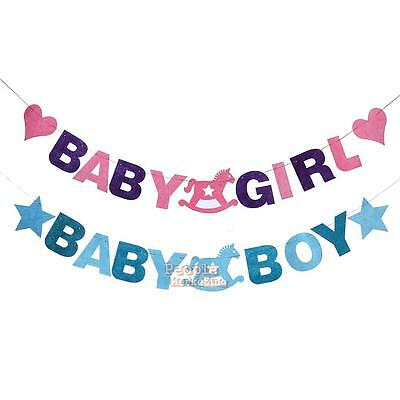 Baby Boy Girl Flags Reusable Felt Haning Banners Birthday Party Room Decoration