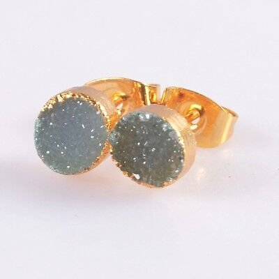 7mm Round Agate Druzy Geode Stud Earrings Gold Plated B041099