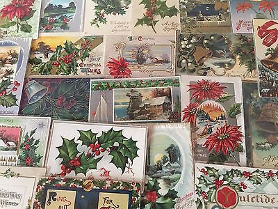 ~Nice Lot of 25 Antique Christmas Postcards-Vintage ~In Protective Sleeves-d-5