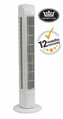 Millen-i-air EH1513 Tower Fan 3 Speed Oscillating Slim Design For Home or Office
