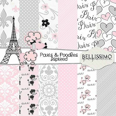Paris & Poodles Inspired Pink Grey Scrapbook Papers, 12 Sheets, Custom Designs