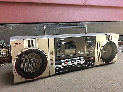 Vintage Sharp Portable Stereo, Boombox Radio Cassette Player Ghetto Blaster 80's