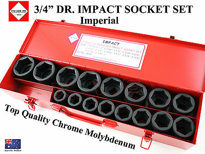 "Tek-Chrome Usa 3/4"" Dr Impact Socket Set Usa Pro Quality Chrome Moly Imperial"
