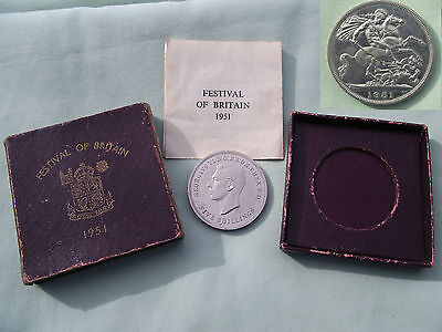 * ORIGINAL 1951 * FESTIVAL of BRITAIN COIN in ORIGINAL BOX  / PAPER *