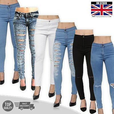 Womens Ripped High Waisted Jeans Skinny Stretch Ladies Jeggings Pants Size 8-16