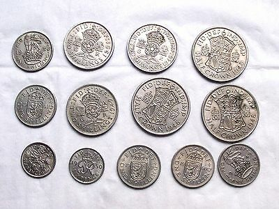 13 Vintage British Coins * Half Crown / Two Shilling / One Shilling & Sixpence *
