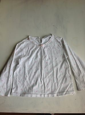 The Little White Company White With Pink Stars Top Age 3-4 Years