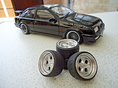 "1:18 FORD 16"" ESCORT XR3i"" ALLOY WHEELS AND TYRES DEEP DISH MODIFIED-TUNING-RARE"