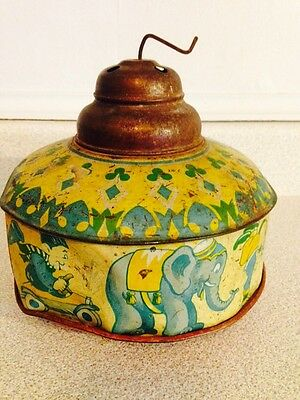 Very Rare Antique Walt Disney Musical Tin Litho Toy With Dumbo And Circus