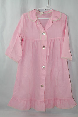 Vintage Girls Nightgown Pajamas 70s 80s Pink Button Down