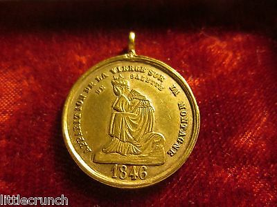 Vintage Antique Dated 1846 French Brass Medal Our Lady Of Salette Very Nice!