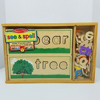 Melissa & Doug ABC's See & Spell Learning Toy 10 Wooden Spelling Boards #2940