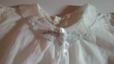 Vintage baby girl clothes, Dress with Blue Embroidery on Collar, Newborn