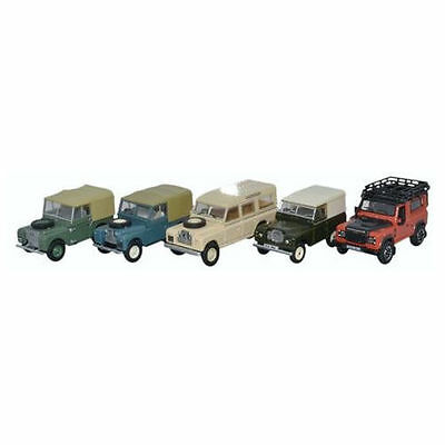 Bnib Oo Gauge Oxford 1:76 76Set55 5 Piece Land Rover Set