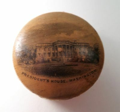 "Mauchline Ware Pin Disk "" President's House Washington """
