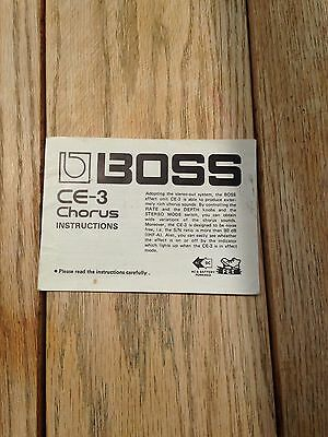 Boss CE 3 effects pedal owners manual instruction booklet