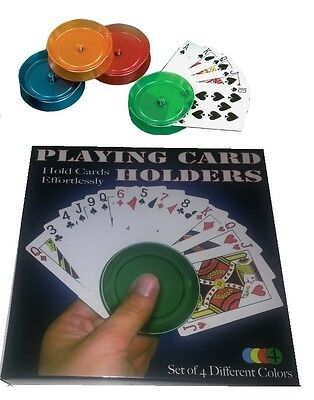"BOXED 4 x PLAYING CARD "" HOLDERS "" POKER CARD GAMES KIDS CHILDRENS BOXED"