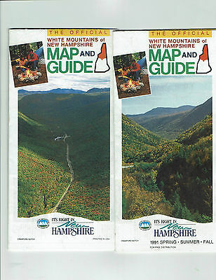 1991 & 1992 White Mountains New Hampshire, lot 2 vintage official maps & guides