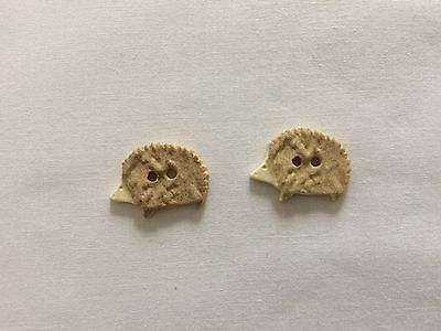 2 Hedge Hog Buttons for Cross Stitch & Needlework Approx. 1""