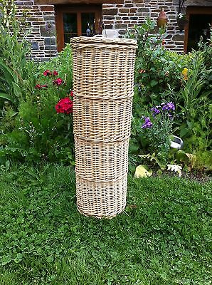 vintage french baguette bread  Bin WICKER  basket WALKING STICK  73 CM HIGH