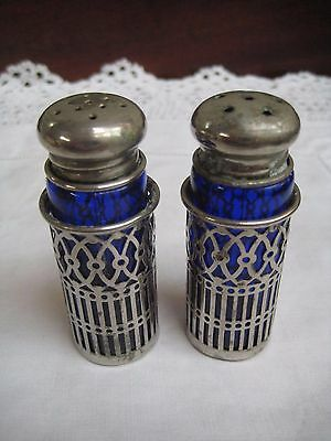 Vintage Silver Tone Salt & Pepper Pots With Blue Glass Liners