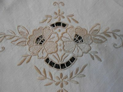 Beautiful Vintage Linen Openwork/ Embroidered Tablecloth