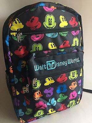 Mickey Mouse Faces Backpack Rainbow Walt Disney World Theme Parks NEW NWT