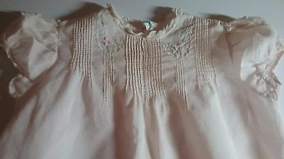 Vintage baby girl clothes, Awesome Detail Pale Pink Dress w Slip,  0-6 Month